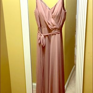 Dusty rose long after six dress with tie and bra